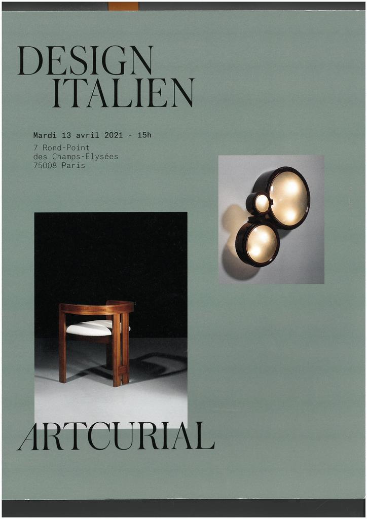 Design italien : Vente du mardi 13 avril 2021 / Hervé Poulain  